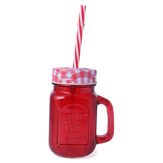 CNH Mason Handle Glass with Handle Drinking Jar/Mug Colorful Glass with  Lid, Colored Straws,250ml
