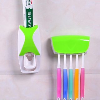 Automatic Toothpaste Dispenser And Detachable Plastic Toothbrush Holder