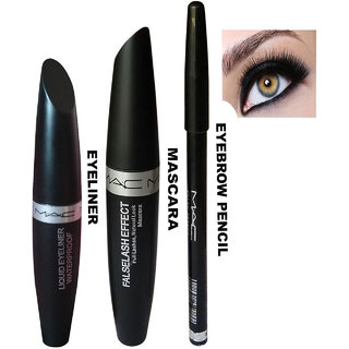 Liquid Eyeliner , Mascara Eyebrow Pencil Pack of 3