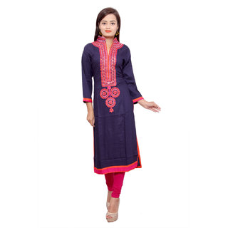 Purvahi nevy blue color solid rayon Kurta with embroidery