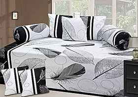 SHAKRIN Polycotton Diwan Set of 8 Pieces (1 Single Bedsheet with 2 Bolsters and 5 Cushion Covers)