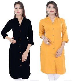 PMM Creation Black  Yellow Plain 3/4 Sleeves Stitched Straigth Solid Cotton Kurti Kurta/Kurtis for Women( Pack of 2 )