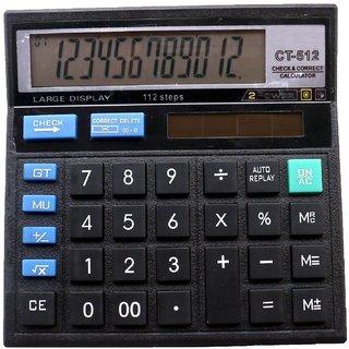 CALCULATOR HIGH QUALITY CT-512 12 DIGITS 2 POWER BIG DISPLAY Check Correct