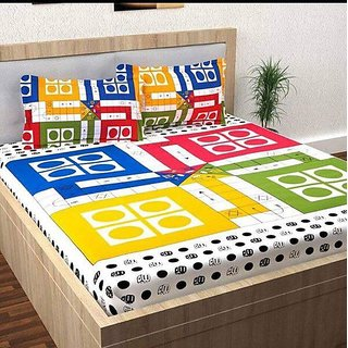 Luxmi HOME Cotton Ludo Printed Double Bedsheet with 2 pillow covers -Multicolor
