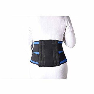 Kudize Lumbar Sacral (L.S.) Belt Contoured Spinal Brace Mild Lower Back Support BlueBlack - Large (90 to 100 cm)