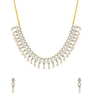 Voylla Pearl with CZ Sparkling Necklace Set