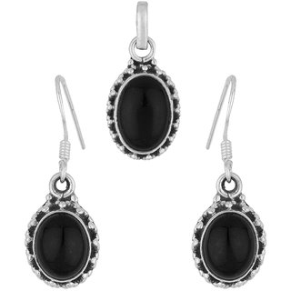 Voylla Sterling Silver Pendant Set Without Chain Studded With Black Onyx Stone