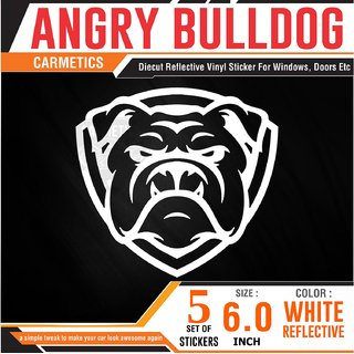CarMetics BullDog car sticker exterior graphics car decal bumper Window Bumper hood wild life Windshield stickers for Mahindra TUV 300 Plus -  Set of 5 SMALL Stickers WHITE