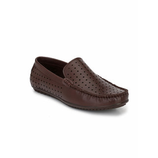El Paso Men's Brown Synthetic Leather Perforated Designer Casual Loafers Shoes