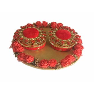 Loops n Knots Red  Golden Wedding Ring Platter/Tray/Engagement Ring Platter/Holder/Box with 2 Ring Holder