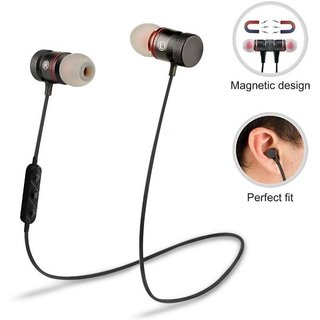 GO SHOPS Wireless Bluetooth Magnetic Earphones with Mic for Samsung Galaxy J7 Prime (Black)
