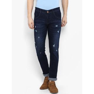 Routeen Men's Dark Blue 100% Cotton Spandex Denim Jeans