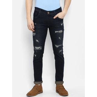 Routeen Men's Golden Blue 100% Cotton Spandex Denim Jeans