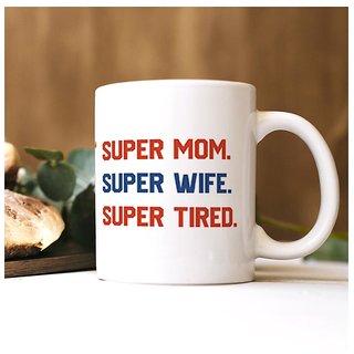 100yellow Super Mom Quote printed Mug (Multicolour,325 Ml)