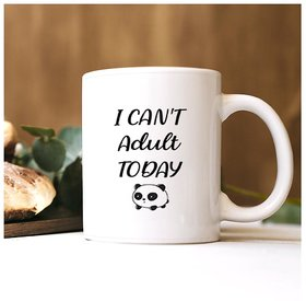 100yellow I can't adult today Quote printed Mug (Multicolour,325 Ml)