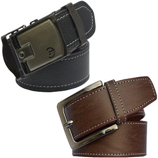 Sunshopping Men's Black And Brown Formal Leatherite Belt (Synthetic leather/Rexine)