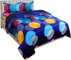 BSB Trendz Glace Cotton Double Bedsheet  With 2 Pillow Cover