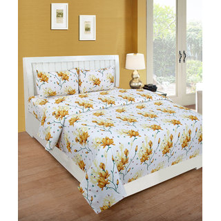 BSB Trendz Glace Multicolor Polycotton Double Bedsheet  With 2 Pillow Cover