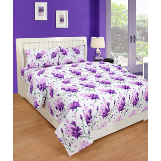 BSB Trendz Multicolor Polycotton Double Bedsheet With 2 Pillow Cover
