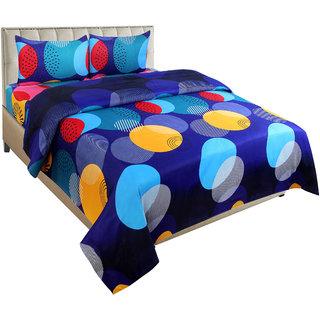 BSB Trendz Multicolor Polycotton 3D Printed 1 Double Bedsheet 2 Pillow Cover (225Cm  227Cm)