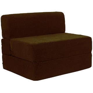 Style Homez Foldable Sofa Cum Bed, 4' x 6' Feet Imported Velvet Fabric with Premium Foam Fillers, Shade Brown  Color