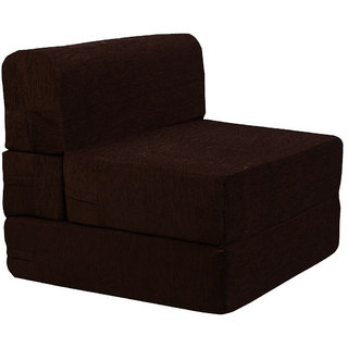Style Homez Foldable Sofa Cum Bed, 4' x 6' Feet Imported Velvet Fabric with Premium Foam Fillers, Choclate Brown Color