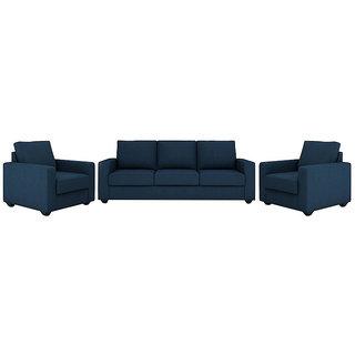 houzzcraft jordana sofa set (3+1+1) blue