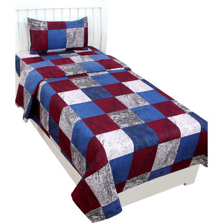 BSB Trendz Glace Cotton Single Bedsheet  With 1 Pillow Cover
