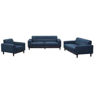 houzzcraft san dimas sofa set (3+2+1) blue