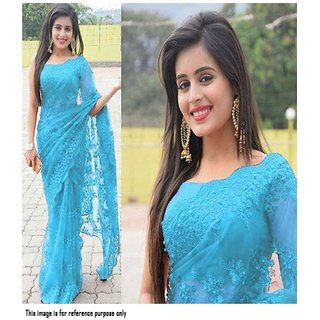 Blue Net With Embroidered Sarees