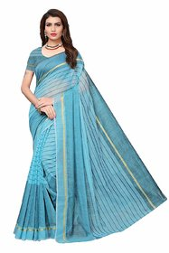 Florence Light Blue Striped Cotton Silk Saree with Blouse