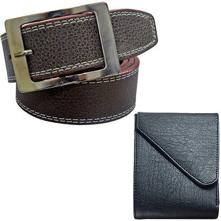 Sunshopping Mens Brown Formal Belt with Black Leatherite Wallet (Combo) (Synthetic leather/Rexine)