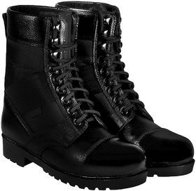 Blinder Black Military Long Lace-Up Boots For Men On Shopclues.com