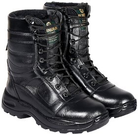 Blinder Men's Black Fur Military Army Long Lace-Up Hiking And Trekking Boots