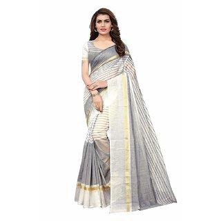Vkaran White Striped Cotton Silk Saree with Blouse