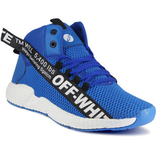 Shoebook Trendy Off-White Unisex High Ankle Shoes for Men