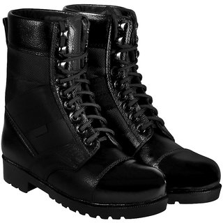 Blinder Black Military Long Lace-Up Boots For Men