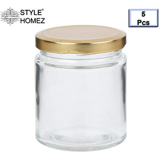 Style Homez Glass Jar with Metal Golden Color Lid Air Tight Rust Proof Cap, Capacity 300 ML or 150 Grams, 5 pcs