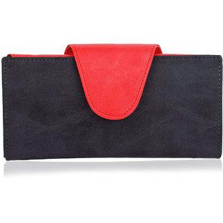 Women Leather Wallet, Multi Cards Holder Handbag, Long Lasting Quality, Red  Black Ladies Purse