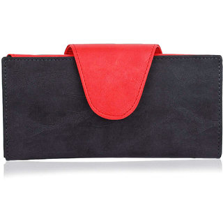 Women PU Leather Purse, Multi Cards Holder Handbag, Long Lasting Quality, Red  Black Ladies Clutch