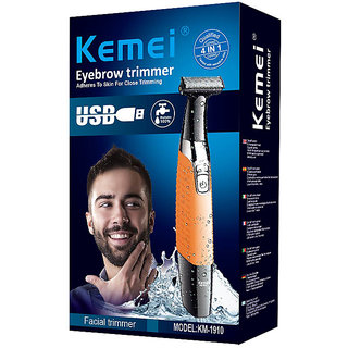 Kemei electric hair trimmer USB rechargeable safety razor for men face arm leg hair removal fast shaving