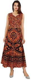 UniqChoice Traditional Paisley printed Cotton Stitched Gown For Women's Maxi Long Dress Brown Color( Free Size)