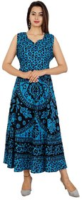 UniqChoice Traditional Paisley printed Cotton Stitched Gown For Women's Maxi Long Dress Blue Color( Free Size)
