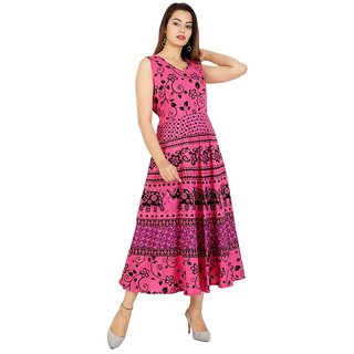 0938eaa13 UniqChoice Traditional Paisley printed Cotton Stitched Gown For Women's  Maxi Long Dress Red Color( Free Size)