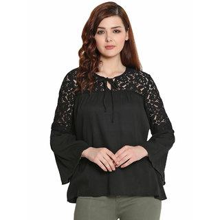 Shreemanya Lace Stylish Black Top for Women and Girls Western Wear