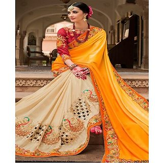 Buy Beautiful Cream And Orange Designer Wedding Saree With Embroidery Work At Indian Velvet