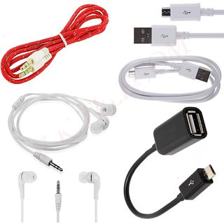 Data Cable/USB Cable +OTG Cable+Aux Cable+Hands Free Combo 4 in 1  Pack For mobile CODEWe-4592