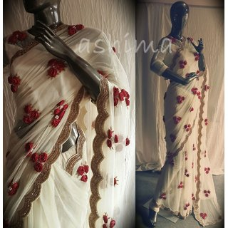 BUY CREAM WHITE GEORGETTE SAREE WITH 3D ROSE WORK AT INDIAN VELVET