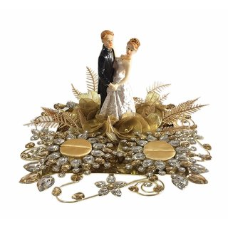 Loops n Knots Golden Wedding Ring Platter Tray/Engagement Ring Platter with 2 Ring Holder for Ring Ceremony
