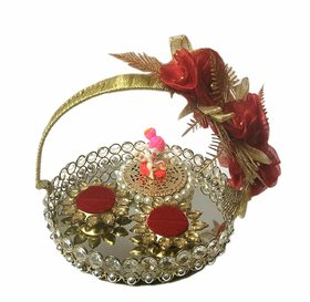 Loops n Knots Ganesha Crystal Basket Wedding/Engagement Ring Platter with 2 Ring Holder